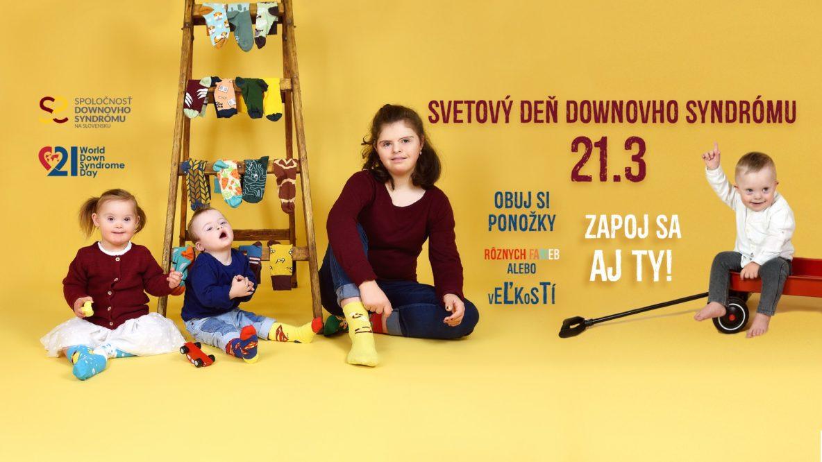 Rozdielne ponožky sa stali symbolom Svetového dňa Downovho syndrómu, pretože chromozóm má tvar ponožky. Dátum 21. 3. je tiež symbolický, lebo ľudia s Downovým syndrómom majú o jeden 21. chromozóm navyše | Foto – downovsyndrom.sk